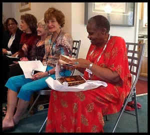 Receiving gifts from the Pen Women