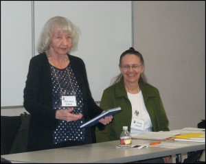 Florence and Susan speaking on their poetry project